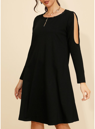 Solid Shift Cold Shoulder Sleeve Long Sleeves Midi Little Black Casual Tunic Dresses