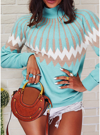 Stand collar Casual Print Sweaters