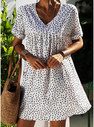 PolkaDot Shift Short Sleeves Mini Casual Vacation Dresses