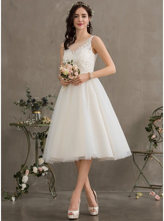Ball-Gown/Princess Illusion Knee-Length Tulle Wedding Dress With Sequins