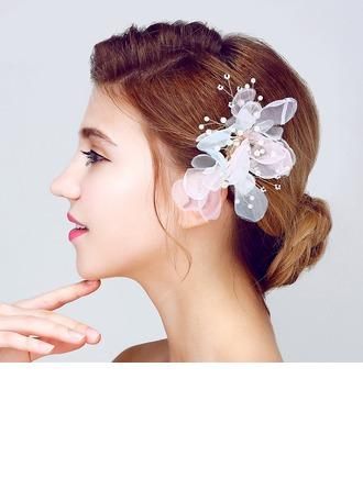 Şık Faux Pearl/İpek Çiçek Çiçekler ve tüyler