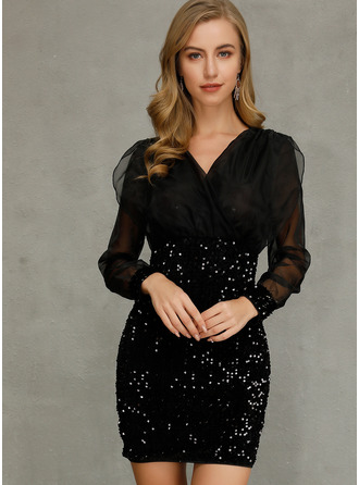 Sequins Bodycon Long Sleeves Mini Casual Dresses