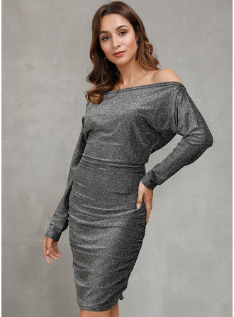 Midi One Shoulder Polyester Sequins/Solid Long Sleeves Fashion Dresses