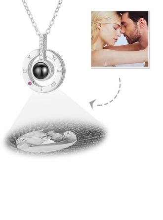 Gepersonaliseerde Sterling Zilver Ik Hou Van Jou Ketting In 100 Talen Projectie Cirkel Foto Ketting met Kubieke Zirkonia - Moederdag Cadeaus