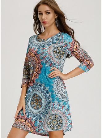 Print Shift 3/4 Sleeves Long Sleeves Mini Boho Casual Elegant Vacation Tunic Dresses