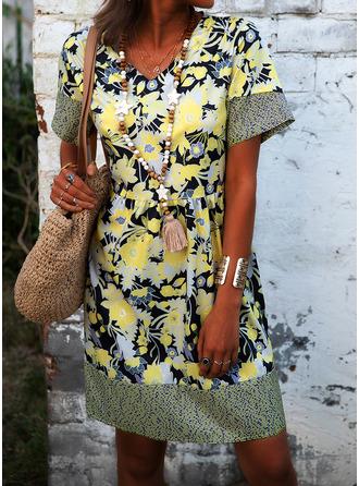 Print Shift Short Sleeves Midi Casual Vacation Tunic Dresses