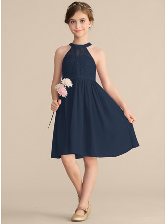Aライン/プリンセスライン2 スクープネック 膝上丈 シフォン レース ジュニアブライドメイドドレス