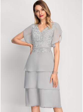 Corte A Decote V Coquetel Tecido de seda Vestido de cocktail com lantejoulas