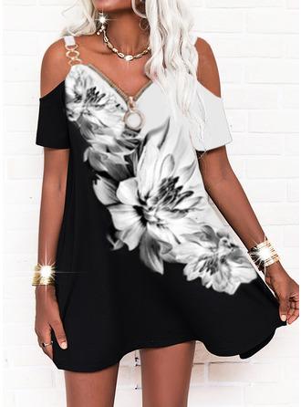 Color Block Floral Print Shift Short Sleeves Mini Casual Tunic Dresses