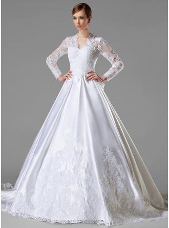 Corte de baile Escote en V Cola capilla Satén Vestido de novia con Volantes Los appliques Encaje Lazo(s)