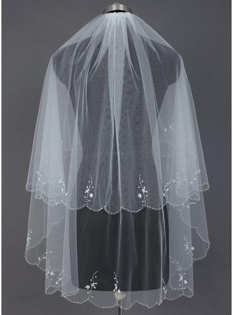 Zweischichtig Fingerspitze Braut Schleier mit Wellenkante/Perlenbesetzter Saum