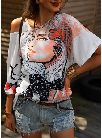 Print One Shoulder 1/2 Sleeves Casual Blouses