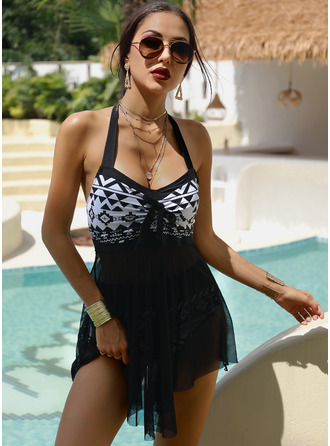 Kąpielówki Polyester Print Vrouwen Ja Zwemkleding