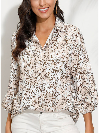Print V-Neck 1/2 Sleeves Button Up Casual