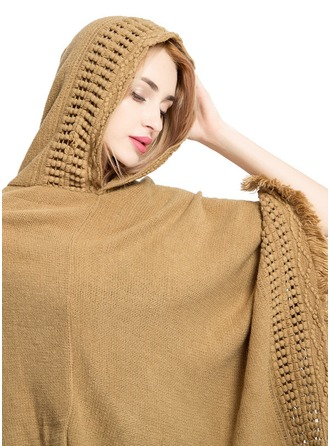 Solid Color/Tassel Oversized/Cold weather Cashmere Poncho
