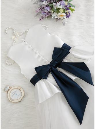 Robe Marquise/Princesse Longueur ras du sol Robes à Fleurs pour Filles - Satiné/Tulle Sans manches Col rond avec Plissé/Plissée (bande détachable)