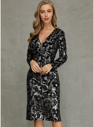 Midi V neck Polyester Print Long Sleeves Fashion Dresses