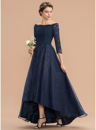 A-Line Off-the-Shoulder Asymmetrical Organza Lace Bridesmaid Dress