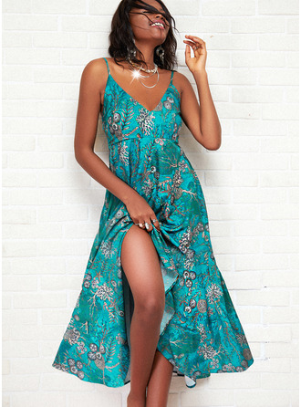Print A-line Sleeveless Maxi Vacation Skater Type Dresses