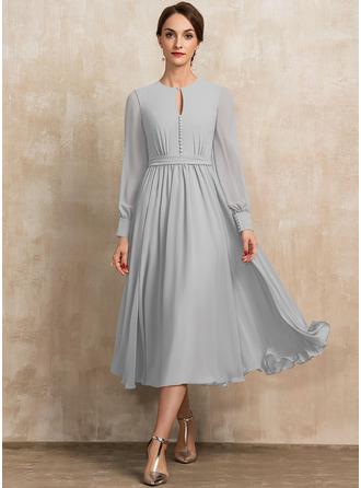 Vestido linha-A Gola Redonda Manga Comprida Midi Elegante Vestidos na Moda