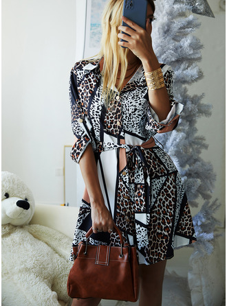 Leopard A-line Long Sleeves Mini Casual Shirt Skater Dresses
