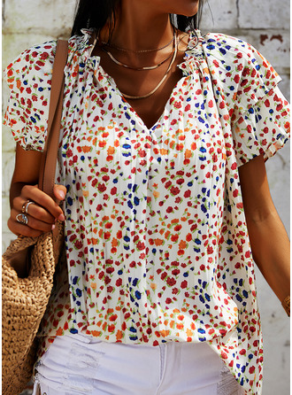 Floral Print V-Neck Short Sleeves Casual