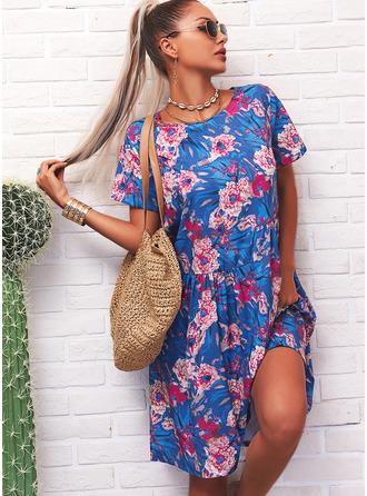フローラル 印刷 シフトドレス 半袖 ミディ カジュアル Tシャツ ファッションドレス