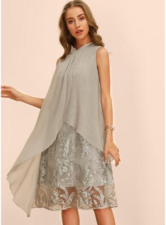 Bestickt Einfarbig Etuikleider Ärmellos Midi Lässige Kleidung Elegant Modekleider