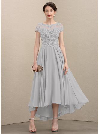 A-Linie U-Ausschnitt Asymmetrisch Chiffon Spitze Kleid für die Brautmutter mit Perlstickerei Pailletten