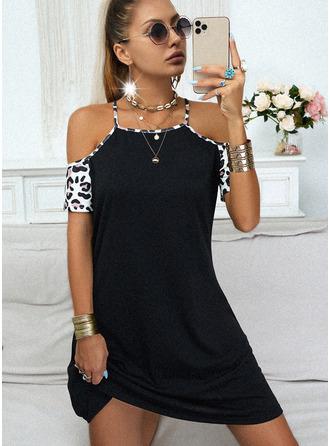 Leopard Šaty Shift Krátké rukávy Mini Neformální Módní šaty