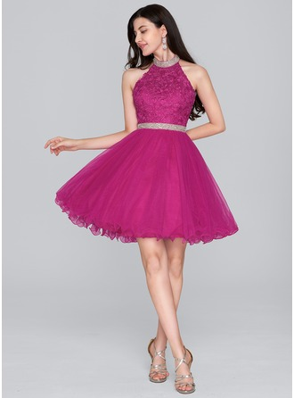 A-Line/Princess Halter Short/Mini Tulle Homecoming Dress With Beading