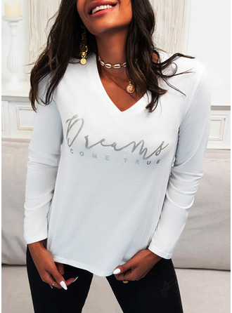 Figure Print V-Neck Long Sleeves Casual T-shirt