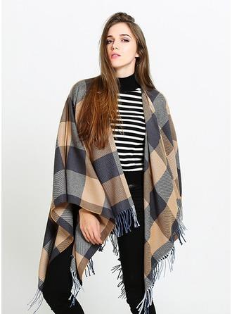Plaid Ylisuuri/Kylmä sää Keinotekoinen Wool Ponchot
