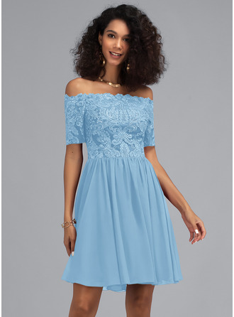 A-Line Off-the-Shoulder Short/Mini Chiffon Homecoming Dress With Sequins