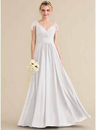 A-Line V-neck Floor-Length Chiffon Bridesmaid Dress With Ruffle Beading Sequins