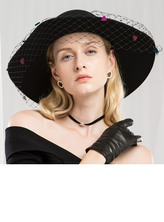 Ladies' Special/Exquisite Wool With Tulle Floppy Hat