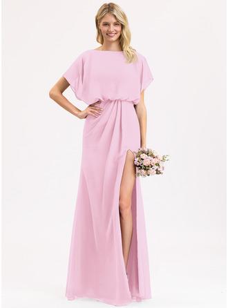 Sheath/Column Scoop Neck Floor-Length Chiffon Evening Dress With Ruffle Split Front