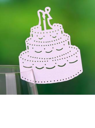 Pastel de bodas Papel perlado Tarjetas del lugar