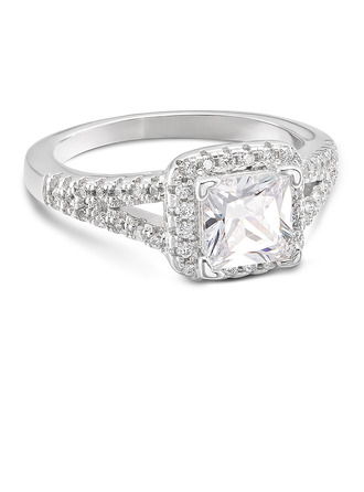 Sterling Silver Cubic Zirconia Split Shank Princess Cut Engagement Rings Promise Rings -