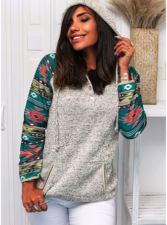 Geometric Print Pockets Long Sleeves Hoodie