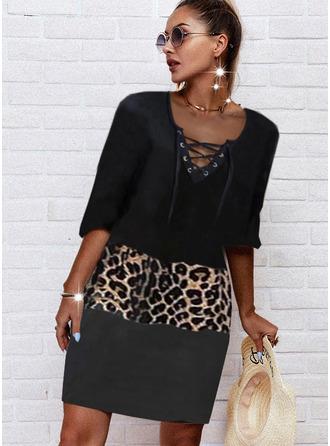 Leopardo Trozos de color Impresión Vestidos sueltos Mangas 1/2 Midi Casual Túnica Vestidos de moda