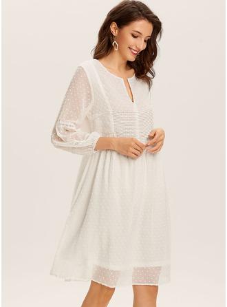 Solid Shift Long Sleeves Midi Casual Elegant Tunic Dresses