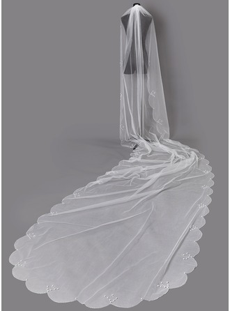 One-tier Beaded Edge Chapel Bridal Veils With Faux Pearl