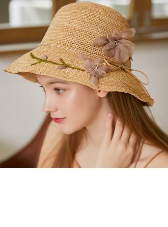 Bayanlar Nefis/Hottest Rafya Straw Ile İpek Çiçek Plaj / Güneş Şapkaları/Çay Partisi Şapkaları