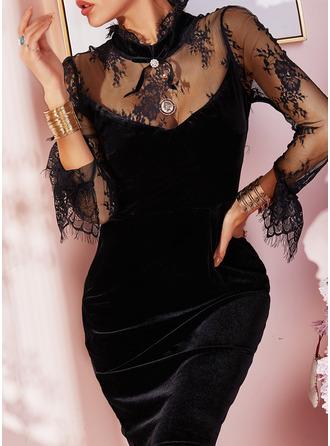 Dentelle Couleur Unie Moulante Manches Longues Mini Petites Robes Noires Fête Robes tendance