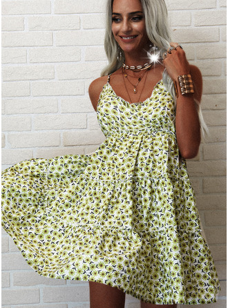 Floral Print Backless A-line Sleeveless Mini Casual Skater Type Dresses