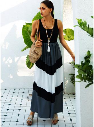 Color Block A-linjeklänning Ärmlös Maxi Fritids skater Modeklänningar