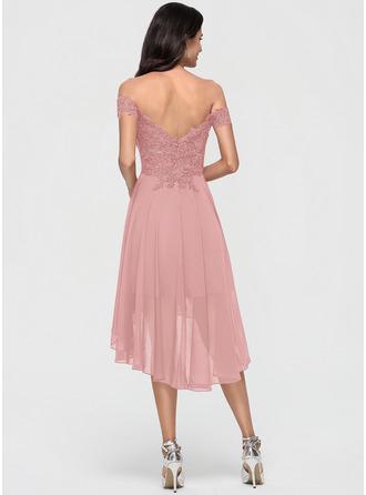 A-Line Off-the-Shoulder Asymmetrical Chiffon Homecoming Dress