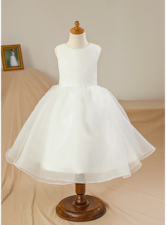 Ball Gown Knee-length Flower Girl Dress - Satin/Tulle Sleeveless Scoop Neck
