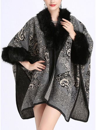 Retro/Vintage Cold weather Acrylic Poncho